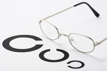 銀縁のメガネと視力検査