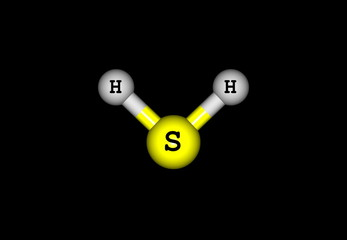 Hydrogen sulfide molecular structure isolated on black