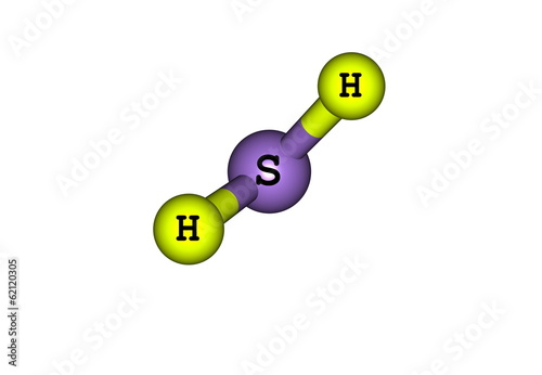 Hydrogen sulfide molecular structure isolated on white