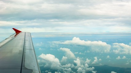 View through the window of the passenger aircraft