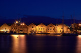 Old venetian arsenal at port Chania in Crete, Greece.