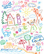 multicolored child drawing style vector set
