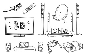 tv and sound household appliances vector set