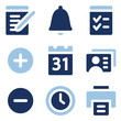 Organizer web icons, blue set