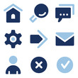 Basic web icons, blue set