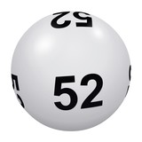 Loto, boule blanche numéro 52