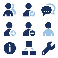 Users web icons, blue set
