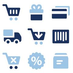 Shopping web icons, blue set