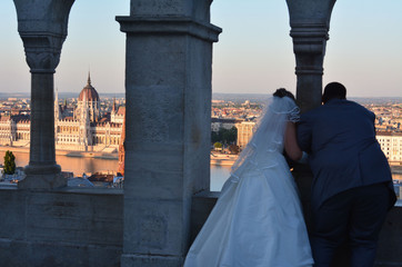 Bride and Groom on Honeymoon in Budapest