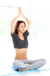 Fit young female training physically at the gym