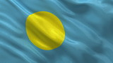 Flag of Palau waing in the wind - seamless loop