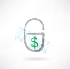 Lock money grunge icon