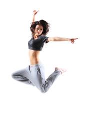 pretty modern slim hip-hop style teenage girl jumping dancing