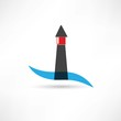 lighthouse and wave icon