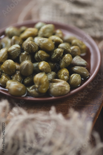 Marinated capers, shallow depth of field, studio shot