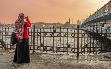 Woman at Galata bridge,Istanbul