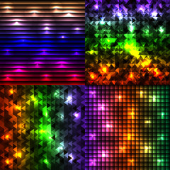 Abstract disco glowing set of background.