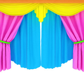 Colorfull curtains isolated on a white background