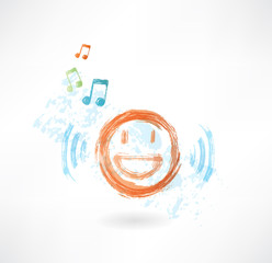 Music smile grunge icon