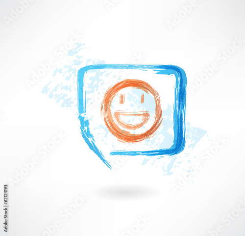 Smile in speech bubble grunge icon