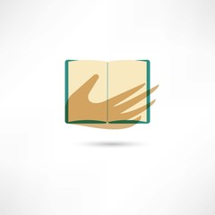 Hand and the open book
