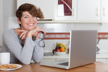 woman working or studying at home