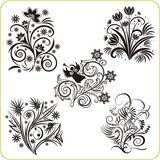 Vinyl-ready vector set - easter floral designs