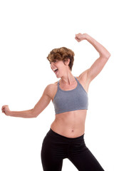 slim woman doing exercise or dance class