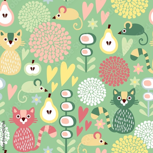 Cute floral seamless spring vector pattern with cat, mouse