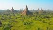 Temple complex of Bagan at sunset. Burma