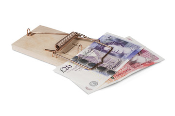 Mouse trap with British pounds, isolated with clipping path