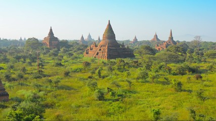 Temple complex of Bagan at sunset. Burma