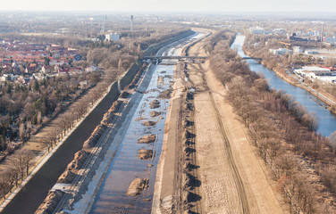 Aerial view of Wroclaw Odra river