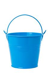 Blue tin bucket on white background.