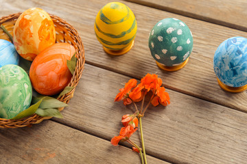 Easter colored eggs on a table