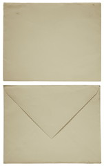 1960s old envelope front and back isolated on white