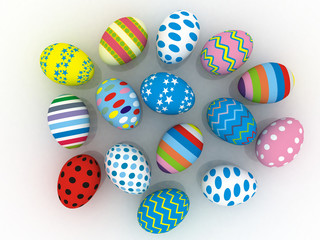 3d colorful easter eggs isolated over white background