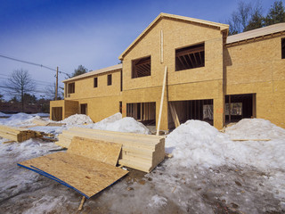 Exterior framing of new town house construction in the suburbs