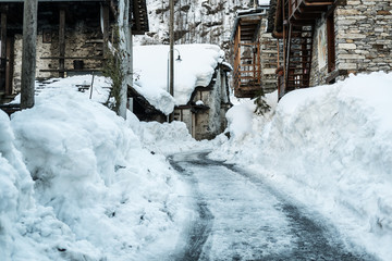Street in old village, winter season - Sonogno