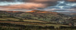 Panorama landscape sweeping countryside view at sunset in Autumn