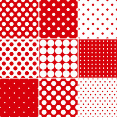 Red polka dot seamless patterns