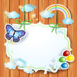 Spring background with label and butterfly