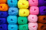 Many roll of colorful yarn for handmade work