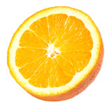 Fresh Half Orange Section Isolated On White