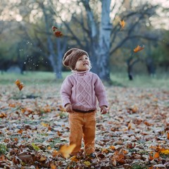 emotional girl in autumn park