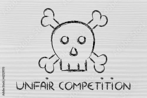 unfair competition threat, funny skull metaphor