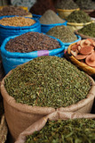 morrocan herbs flowers spices in the Marrakesh street shop, shal