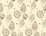 Tasty hand drawing seamless cupcake pattern
