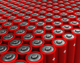 Red rows of alkaline batteries