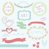 Cute Ribbons Laurels Vector Set